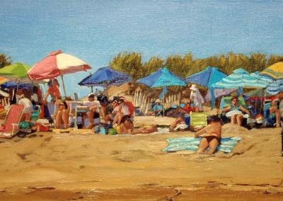 Beach Crowd at Thirteen   12x24