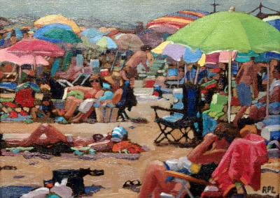 Sunbather Surrounded by Umbrellas   8x10